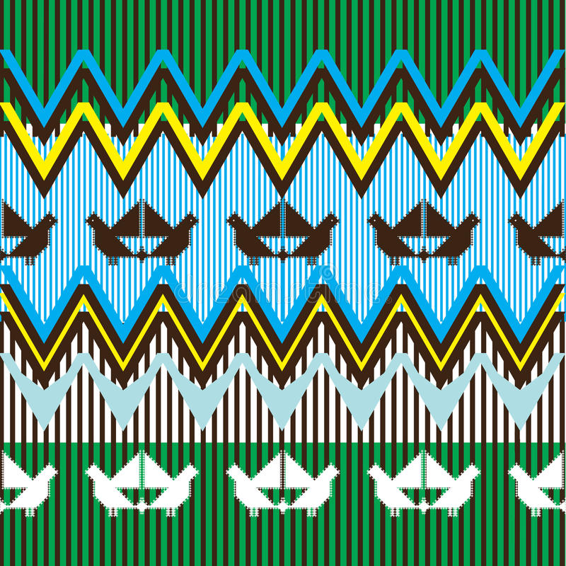 Free Ethnic Pattern With Bird Royalty Free Stock Image - 21317386