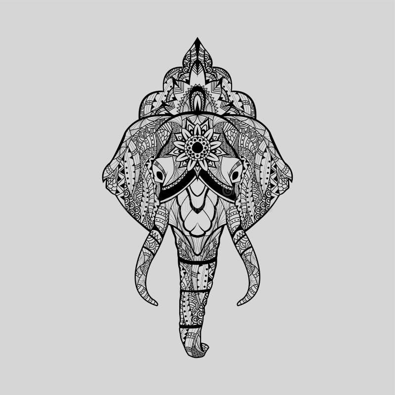 Ethnic patterned head of elephant with mandala crow royalty free stock image