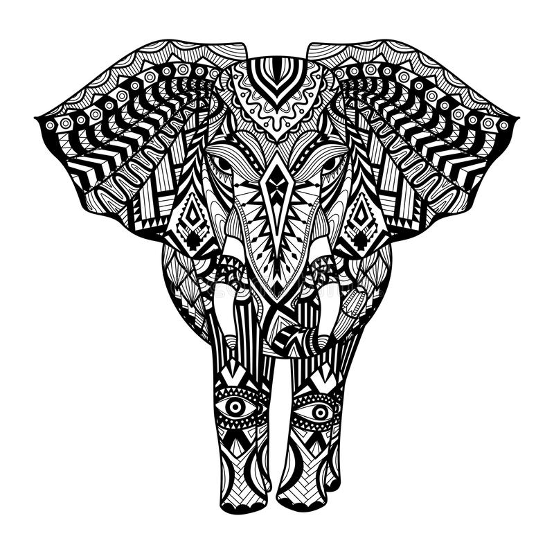 Ethnic patterned head of Elephant. On white background/ african / indian / totem / tattoo design. Use for print, posters, t-shirts,logo,coloring page vector illustration