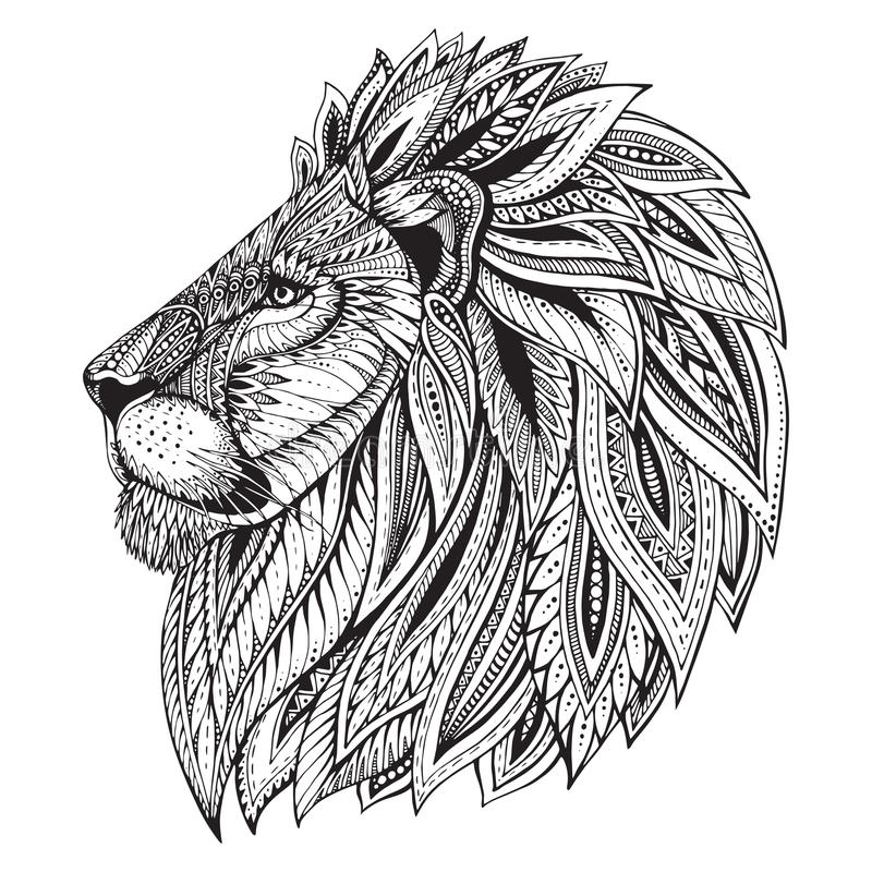 Ethnic patterned ornate hand drawn head of Lion. stock photo