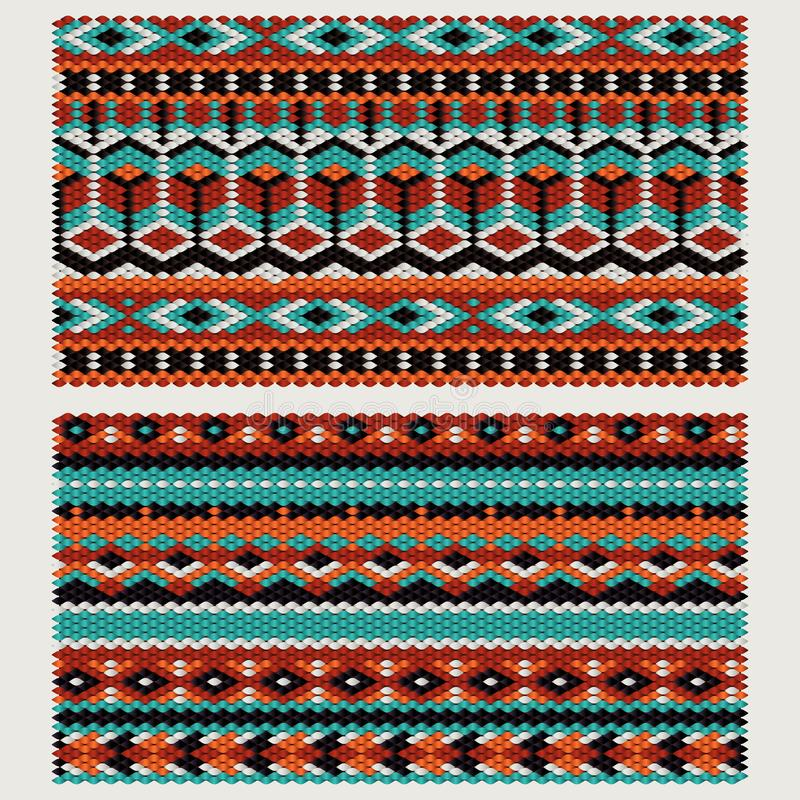 Ethnic patterns on the knitted fabric. Vector stylization stock photos