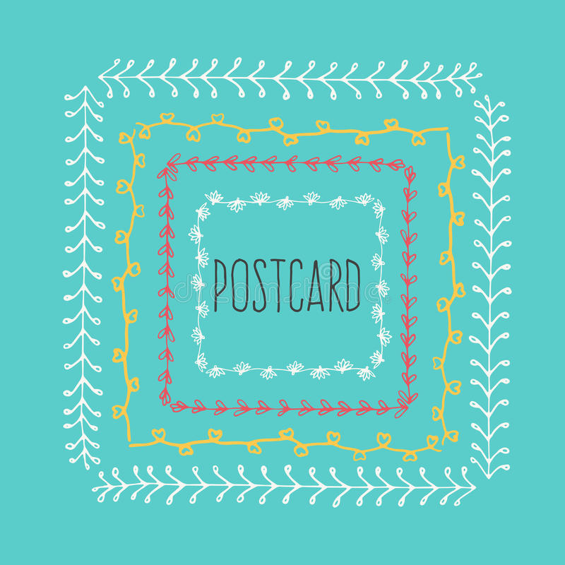 Ethnic postcard background with hand drawn line border. royalty free illustration