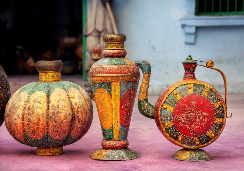 Ethnic Rajasthan pots. Colorful ethnic Rajasthan pots on market in Jodhpur, Rajasthan, India royalty free stock photos
