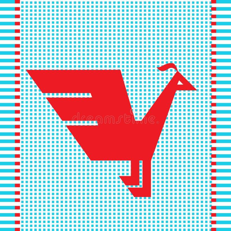 Ethnic red geometric bird stock illustration