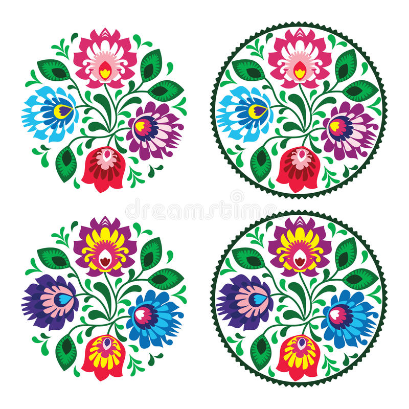 Ethnic round embroidery with flowers - traditional vintage pattern from Poland royalty free illustration