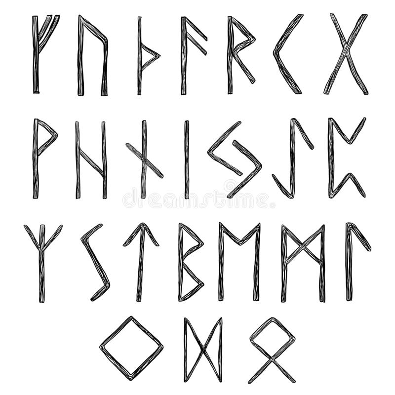 Ethnic runic font in wooden style. 24 runes. Ancient futhark. Black symbols are isolated on white background vector illustration