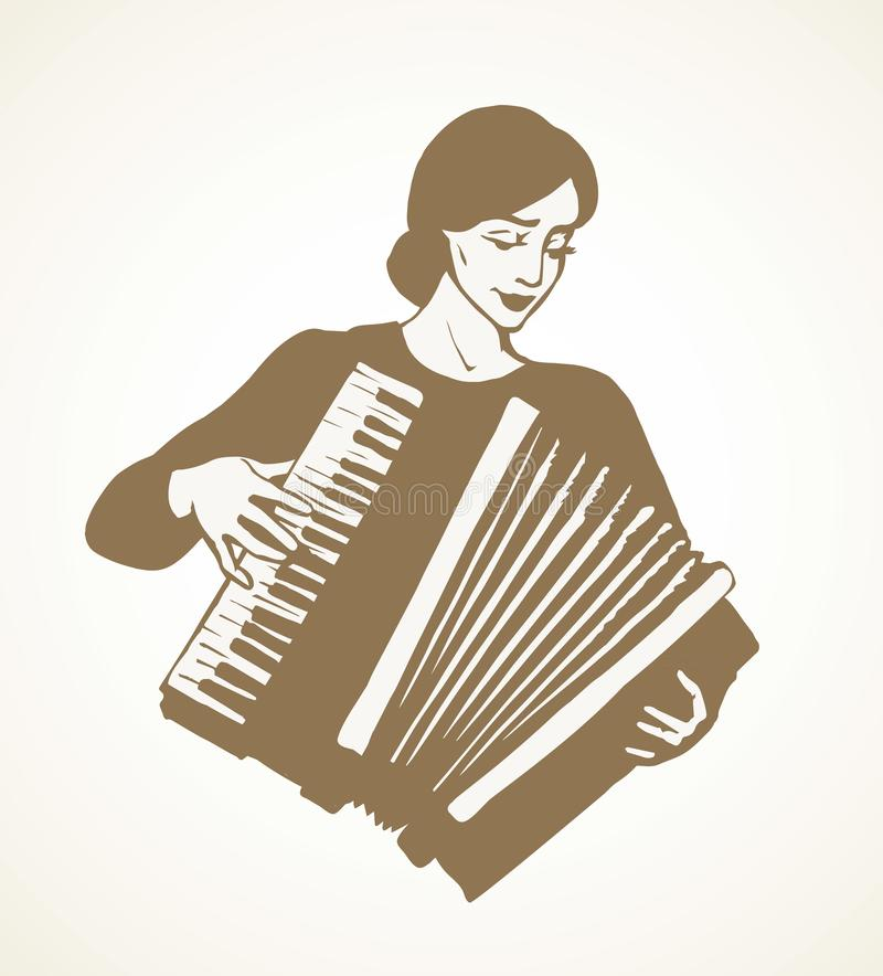 Lady plays the accordion. Vector drawing. Ethnic russian young fun talent smile lady skill bellow harmonic key chord on white. Line black ink drawn happy human royalty free illustration