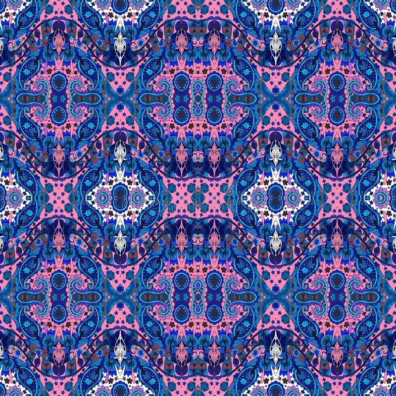 Ethnic seamless bohemian pattern with flowers and paisley ornament. royalty free illustration
