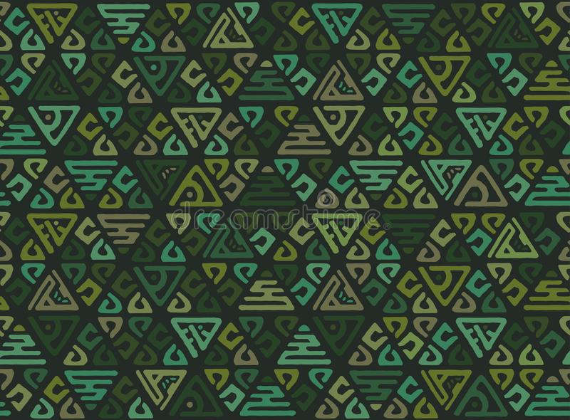 Ethnic seamless geometric pattern of triangles in the tribe style. Patchwork background for Wallpaper vector illustration