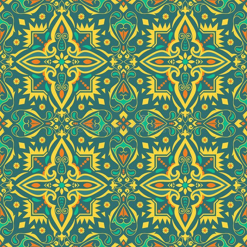 Ethnic seamless pattern, background with floral and geometric ornament. Ethnic colorful seamless pattern. Indian, Mexican background with floral and geometric vector illustration
