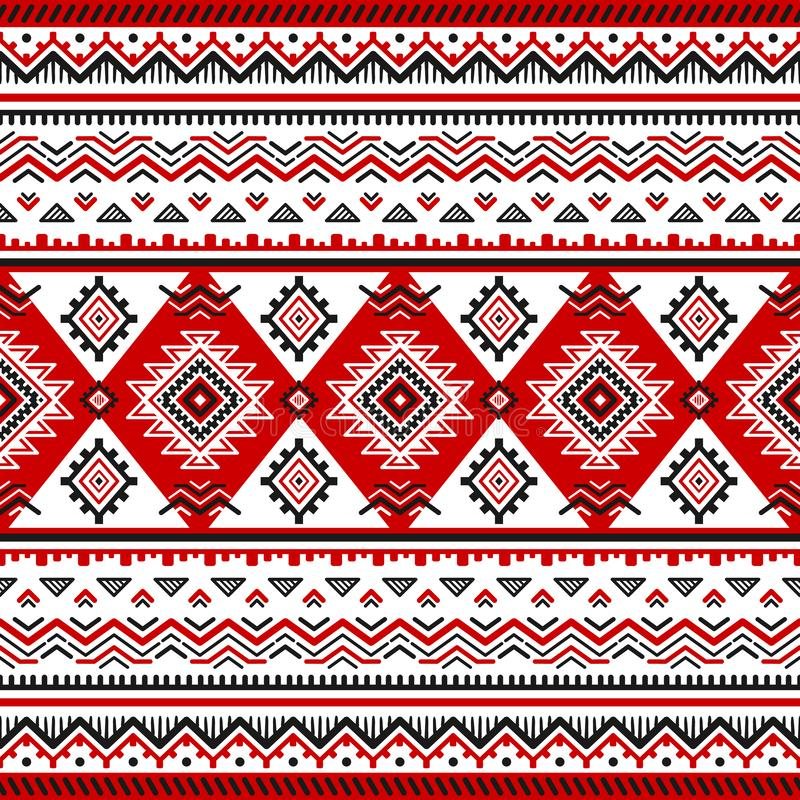 Ethnic seamless pattern with black, white, red colors royalty free illustration