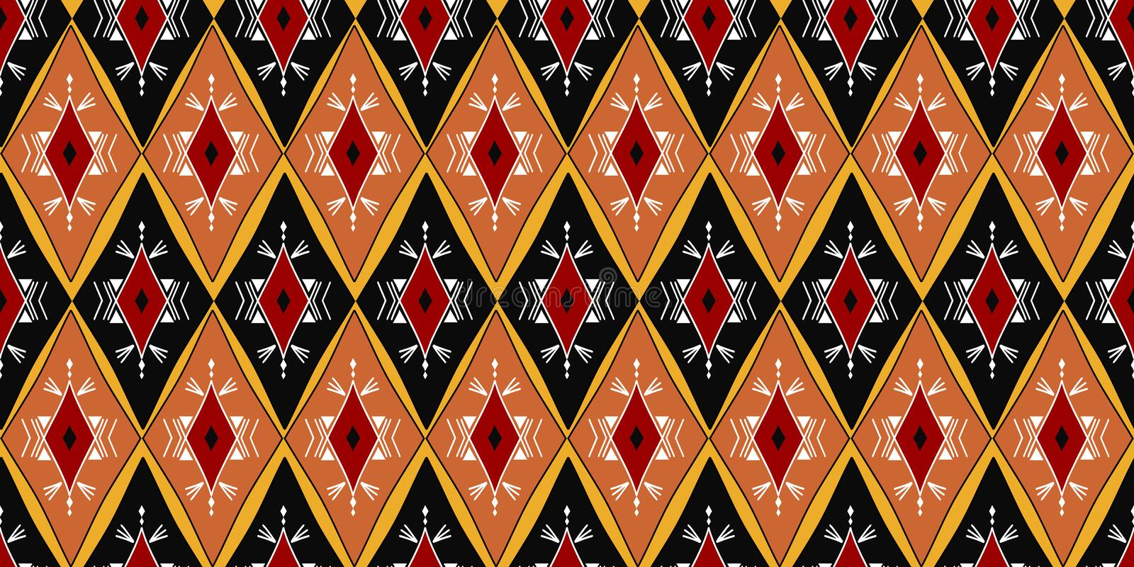 Ethnic seamless pattern with colorful aztec ikat style shape design vector illustration ready for print. Good for women fashion. Vintage geometric Ethnic stock illustration