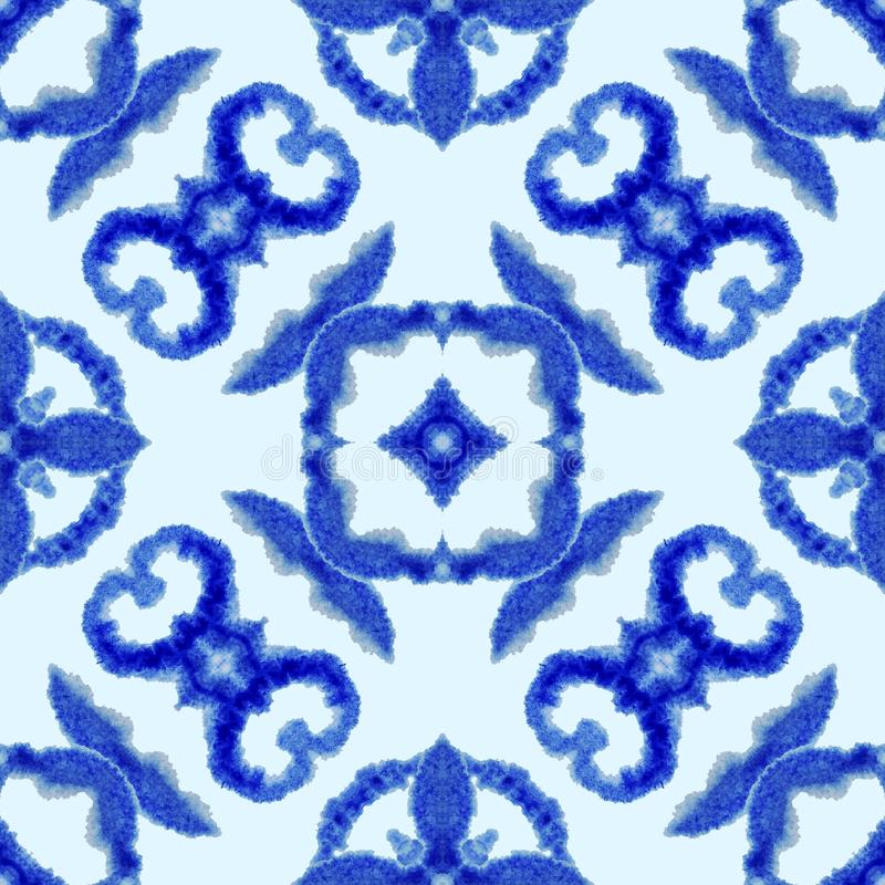 Ethnic seamless pattern. Ethnic boho ornament. Abstract batik tie dyed fabric, Shibori dyeing. Repeating background. Watercolor vector illustration