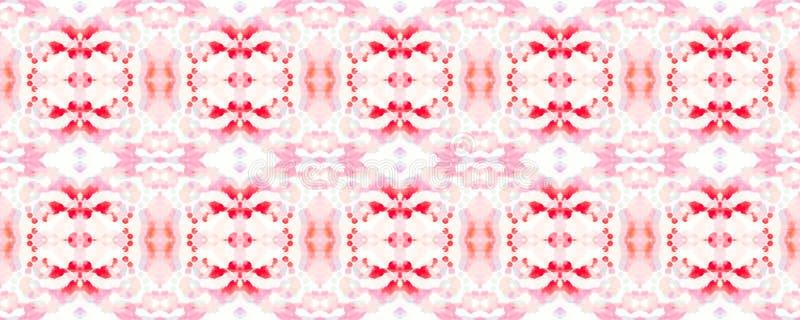Ethnic Seamless Pattern. Fun Symmetric Border Rapport. Ikat Horizontal Texture. Geometric Ethnic Seamless Pattern Ruby Red Watercolor Hand Drawn Batik royalty free illustration