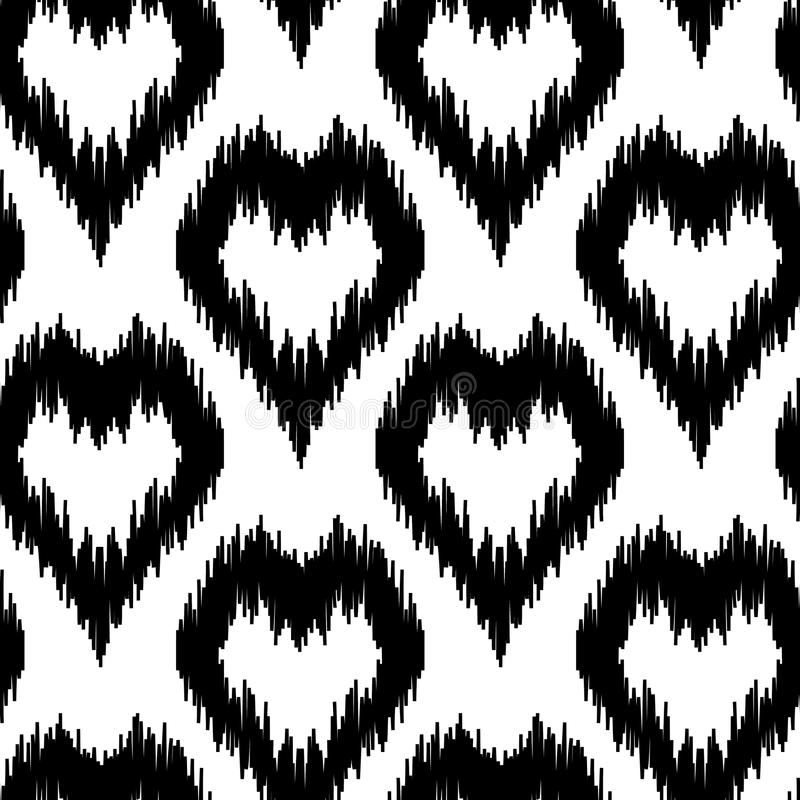 Ethnic seamless pattern with hearts stock illustration