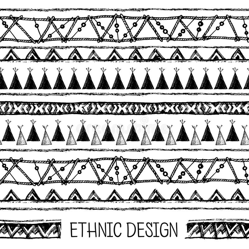Download Ethnic Seamless Pattern In Native Style. Boarder Wigwam Pattern. Hand-drawn Indian  sc 1 st  Dreamstime.com & Ethnic Seamless Pattern In Native Style. Boarder Wigwam Pattern ...