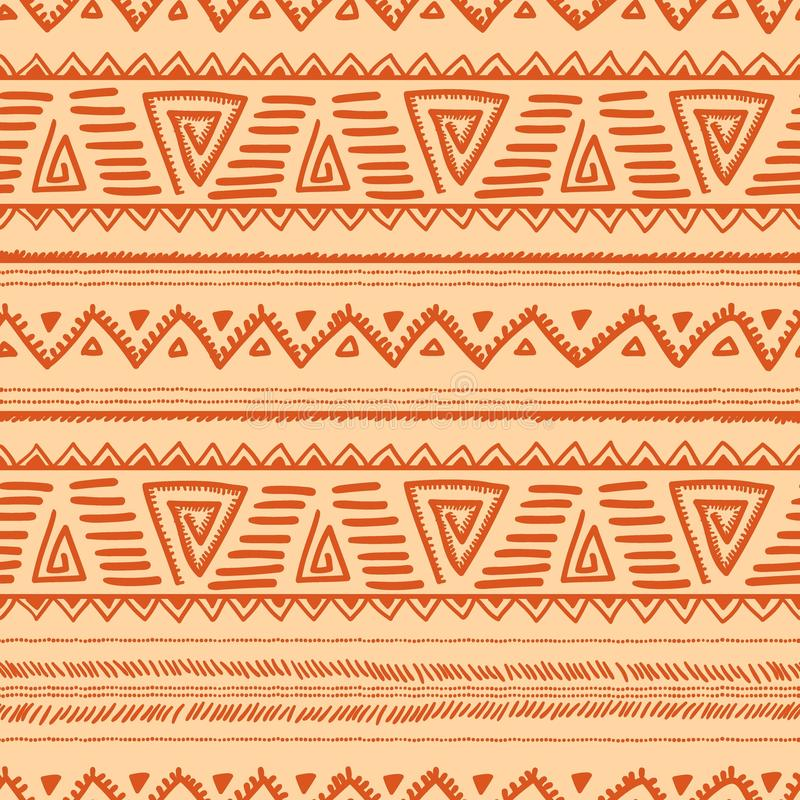 Ethnic seamless pattern. Navajo and tribal motifs. Orange and be royalty free illustration