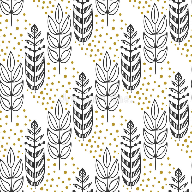 Ethnic seamless pattern with ornamental stylized trees. Endless texture, template for fabric, textile, covers stock illustration