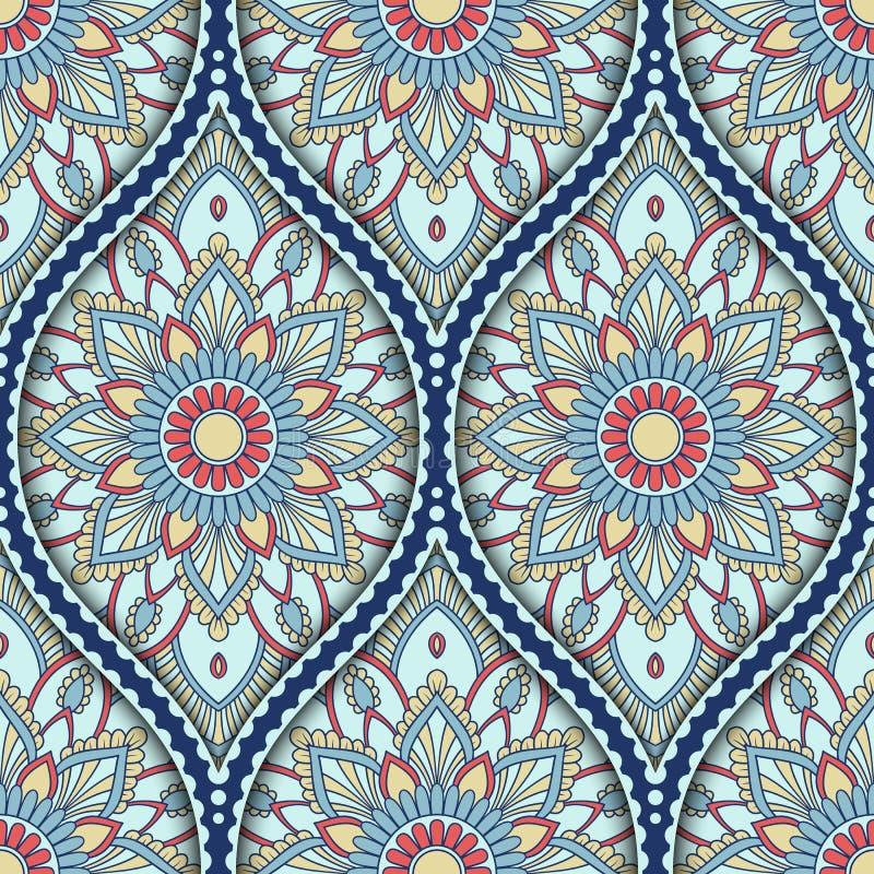Ethnic seamless pattern. Seamless pattern with ethnic mandala ornament. Hand drawn vector illustration royalty free illustration