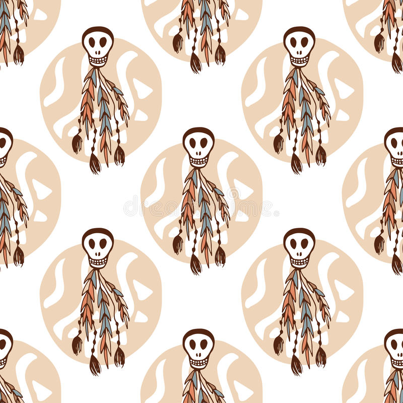 Ethnic seamless pattern with skulls and boho elements. African, tribal, indian texture background. Vector illustration. Hand-draw vector illustration