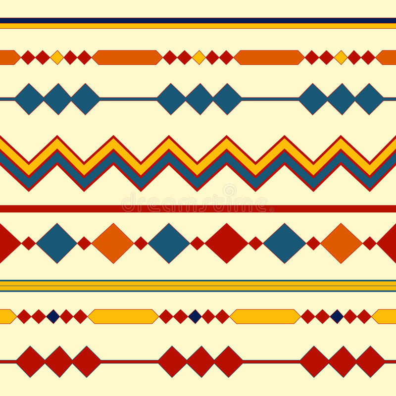 Ethnic seamless patterns. Tribal geometric backgrounds. Modern abstract wallpaper. Vector illustration. royalty free illustration