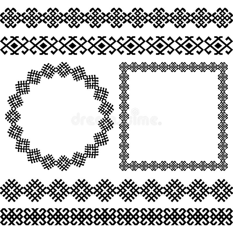 Ethnic set of the most popular round and square frames and dividers. Ethnic greek traditional meander border set. Antique pack of the most popular round and royalty free illustration