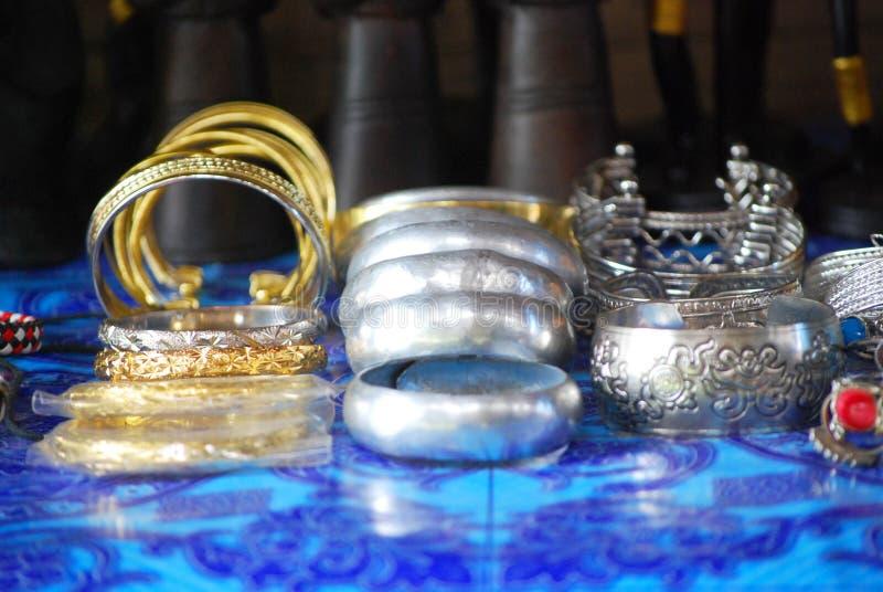 Ethnic silver bracelets stock images