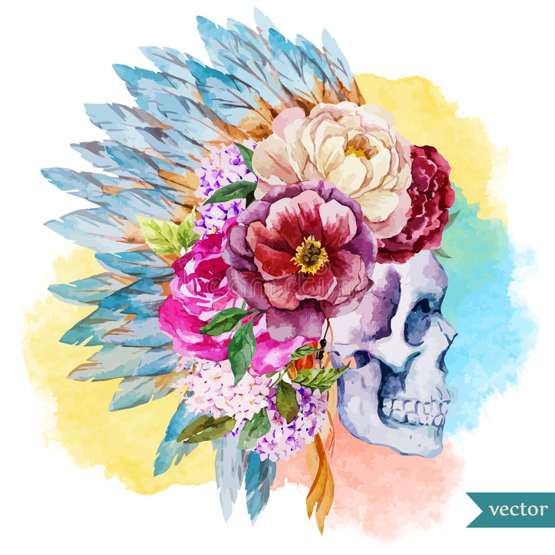 Ethnic skull stock illustration