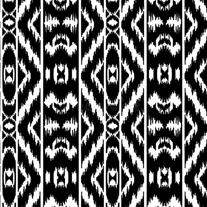 Ethnic striped black and white seamless pattern vector illustration