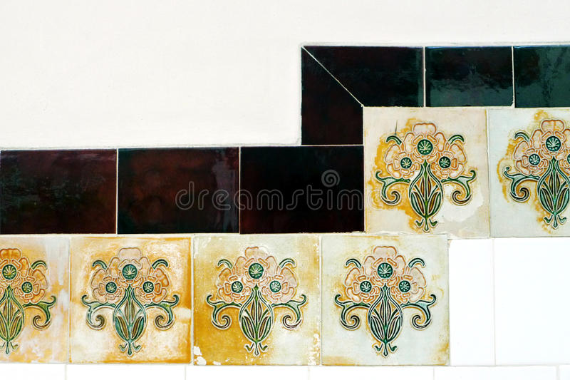 Ethnic style chinese tiles in Singapore Chinatown stock images