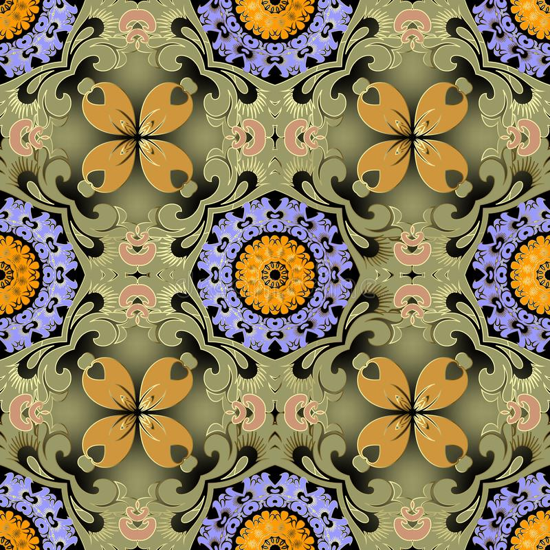 Ethnic style colorful floral vector seamless pattern. Green glowing background. Repeat decorative beautiful backdrop stock photo