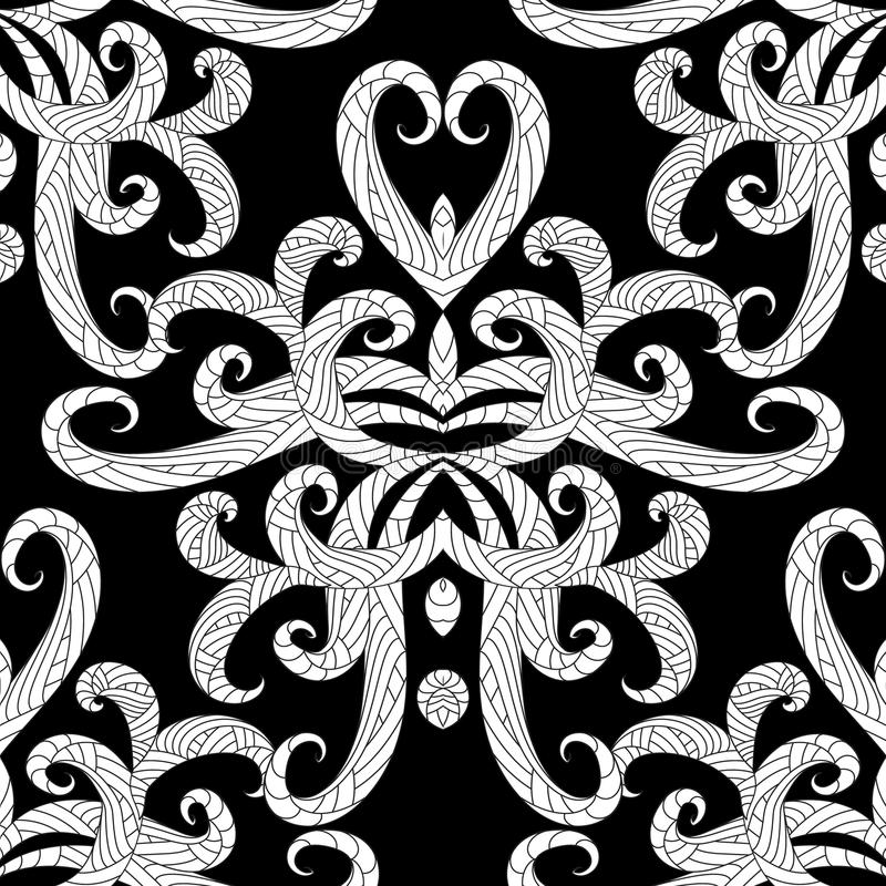 Ethnic style floral black and white seamless pattern. Vector abs vector illustration