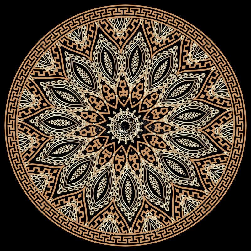 Ethnic style greek vector round seamless pattern. Tribal ornamental geometric background. Colorful greek key meanders vector illustration