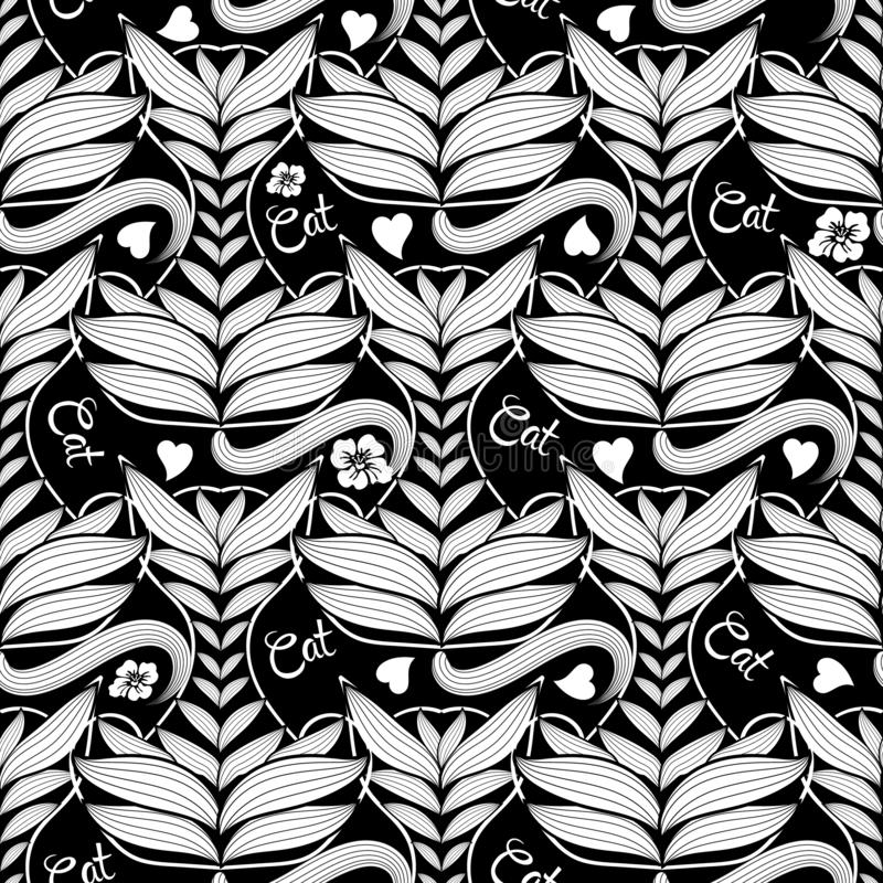 Ethnic style ornamental abstract cats seamless pattern. Vector black and white patterned kittens background. Hand drawn decorative stock illustration
