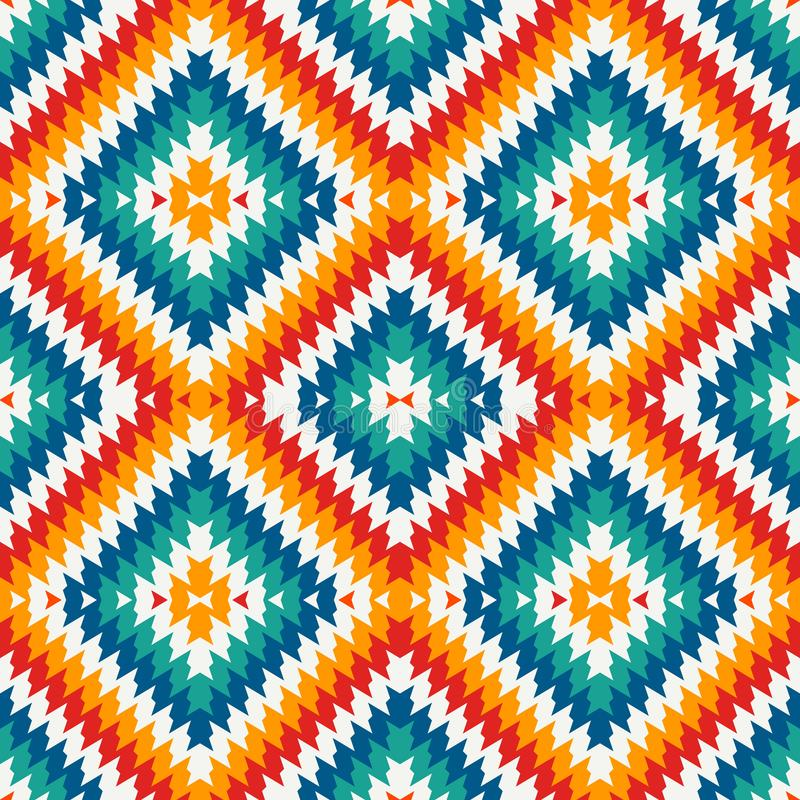 Ethnic style seamless pattern with chevron lines. Native americans ornament. Tribal motif. Colorful mosaic wallpaper. royalty free illustration