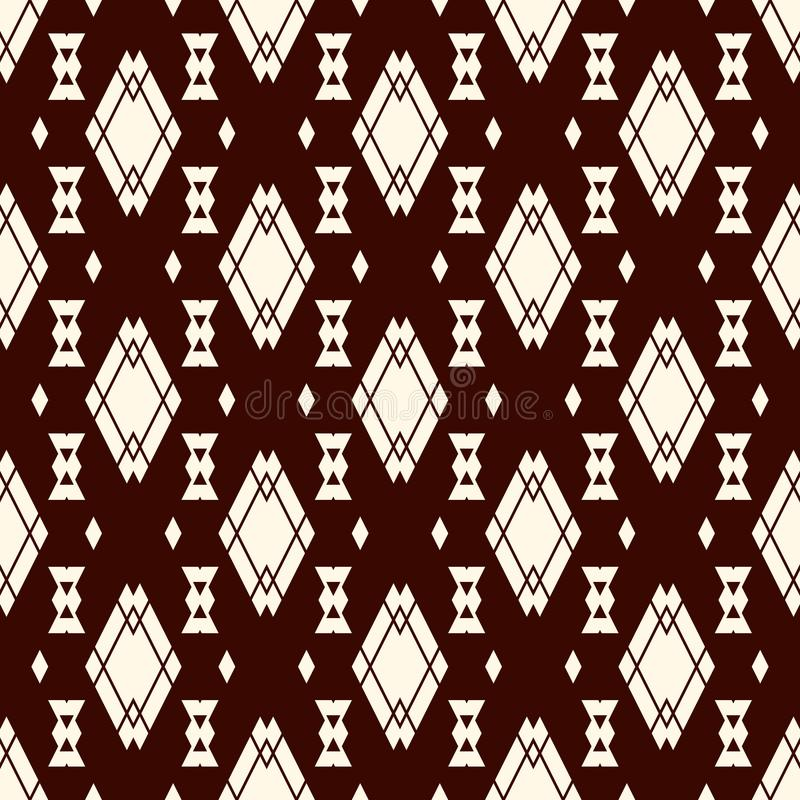 Ethnic style seamless pattern with repeated diamonds. Native americans background. Tribal motif. Eclectic wallpaper. royalty free illustration