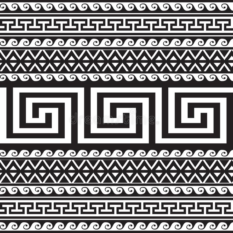 Ethnic style tribal greek borders seamless pattern. Black and white geometric striped background. greek key meanders ancient. Ornament. Geometrical ornamental stock illustration