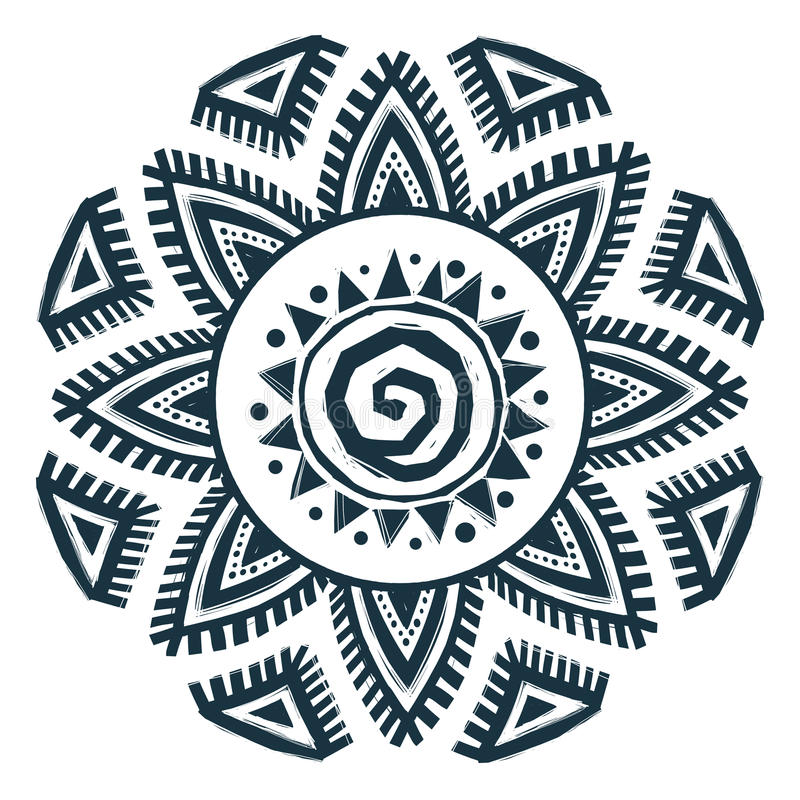 Ethnic style vector hand drawn sun mandala royalty free illustration