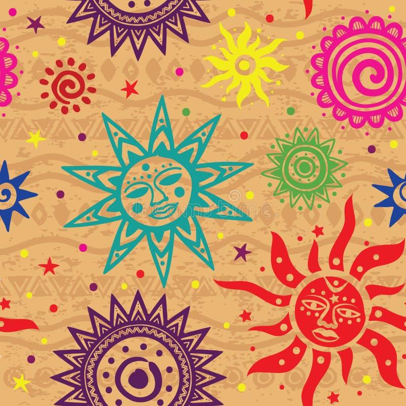 Ethnic Sun Pattern Royalty Free Stock Image