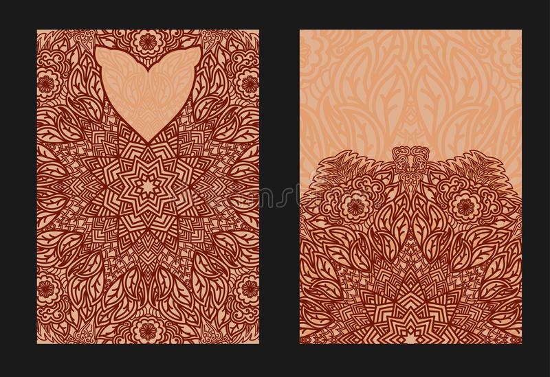 Henna Mehndi Vector : Ethnic template for design wedding invitations and greeting frames