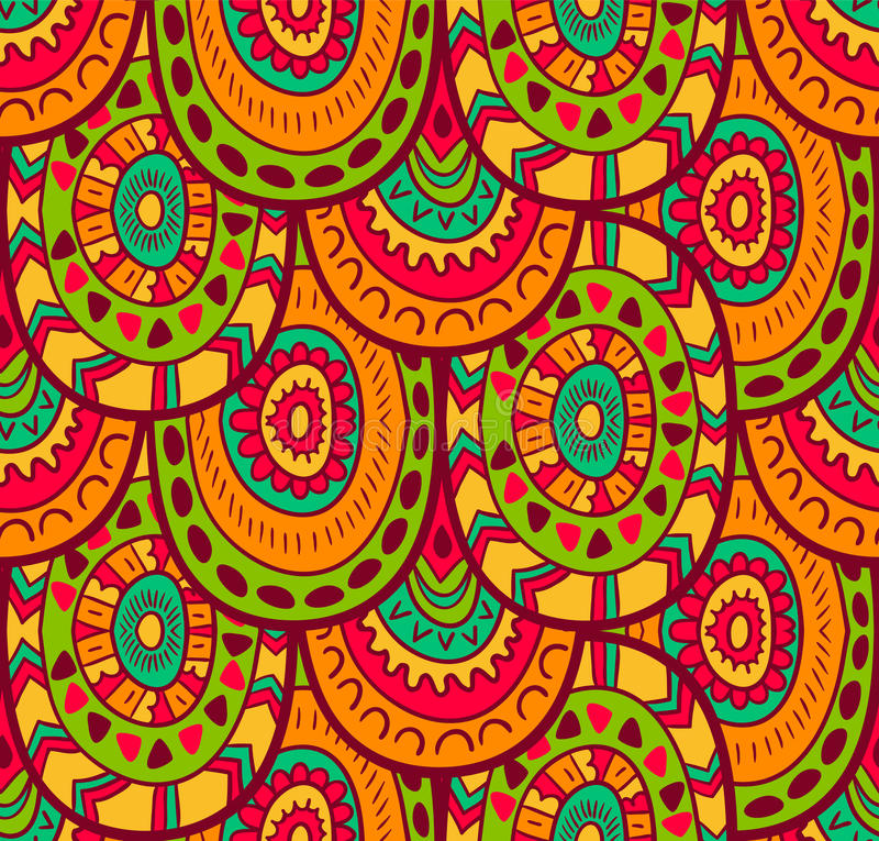 Ethnic textile decorative native ornamental seamless pattern in vector. Endless background. stock illustration