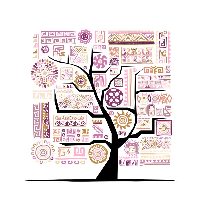 Ethnic tree with handmade ornament for your design stock illustration
