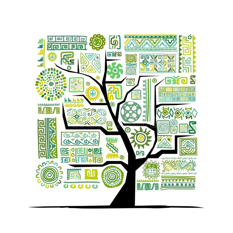 Ethnic tree with handmade ornament for your design vector illustration