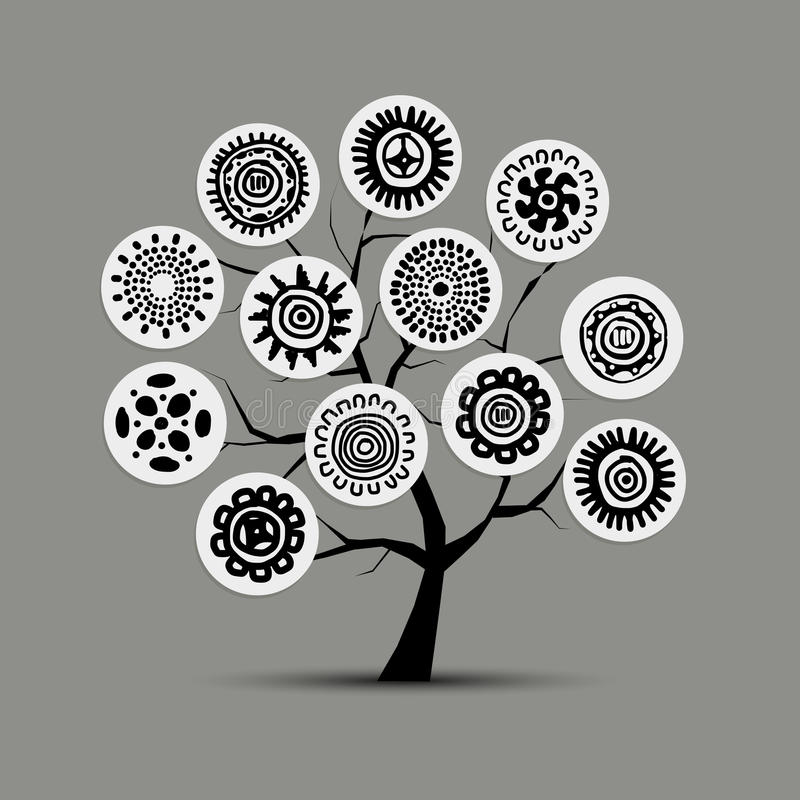 Ethnic tree with handmade ornament for your design royalty free illustration