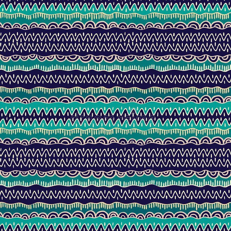 Ethnic tribal seamless vector pattern. Geometric indian ornament background in colors of blue, green and beige stock illustration