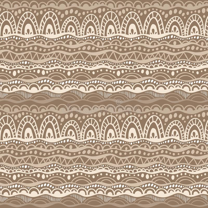 Ethnic tribal seamless vector pattern. Hand drawn geometric ornament background in colors of brown and beige royalty free illustration