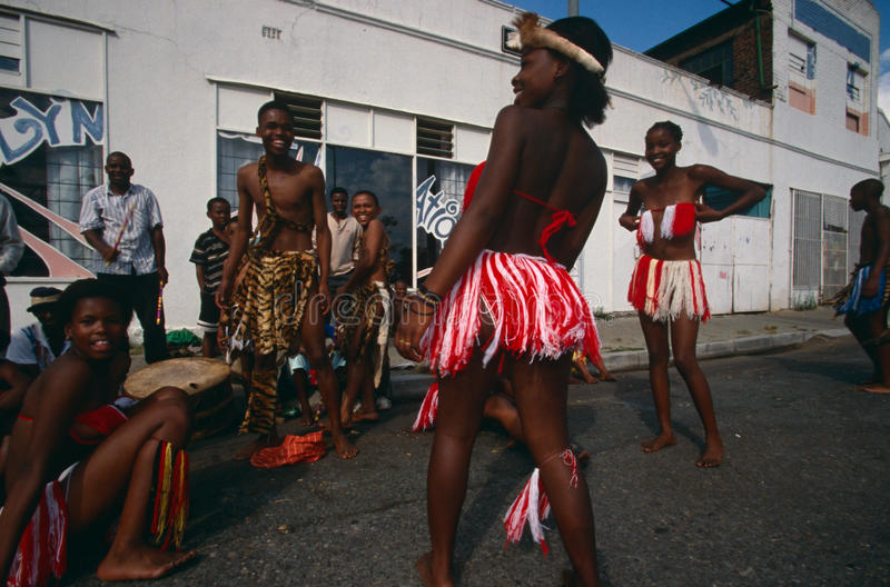 An ethnic tribe performing in Johannesburg royalty free stock image