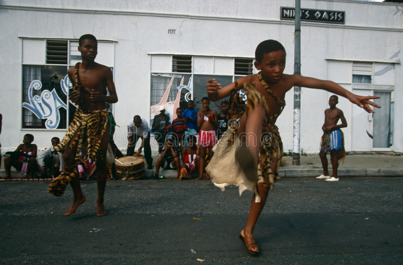 An ethnic tribe performing in Johannesburg stock images