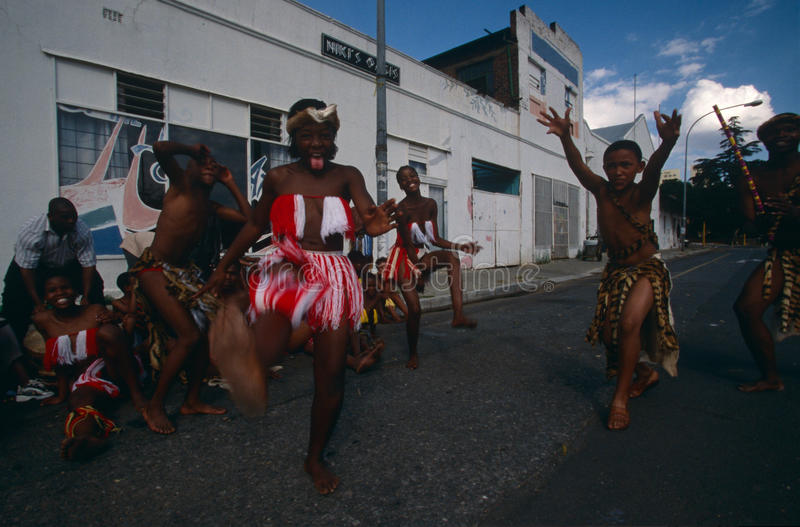 An ethnic tribe performing in Johannesburg. royalty free stock images