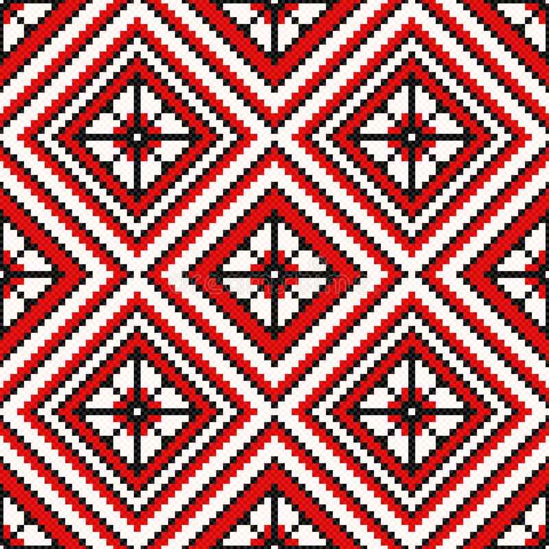 Ethnic Ukrainian broidery in red and black. Ethnic Ukrainian multicolour geometric broidery in red and black hues, seamless vector pattern vector illustration